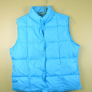 LL Bean Women's Aqua Blue Puffer Vest Jacket